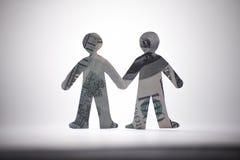 Banconote di origami della gente fotografia stock libera da diritti
