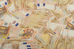 Banconote di UE in 50 euro fatture Fotografie Stock