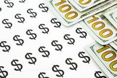 Banconote di valuta dei soldi e del simbolo di dollaro Immagini Stock
