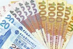 Banconote di valuta sparse attraverso il dollaro di Hong Kong della struttura immagini stock