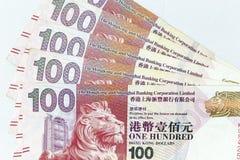 Banconote di valuta sparse attraverso il dollaro di Hong Kong della struttura fotografie stock