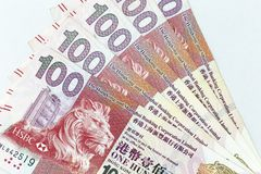 Banconote di valuta sparse attraverso il dollaro di Hong Kong della struttura immagine stock libera da diritti