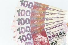 Banconote di valuta sparse attraverso il dollaro di Hong Kong della struttura fotografie stock libere da diritti