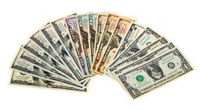 Banconote differenti Stati Uniti. Isolato su bianco Fotografie Stock Libere da Diritti