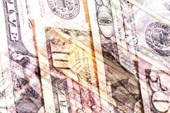 Banconote in dollari astratte del fondo differente di denominazioni Fotografia Stock Libera da Diritti