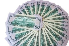 Banconote in dollari che si trovano sottosopra Immagini Stock