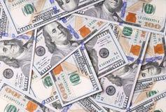 Banconote in dollari dell'americano cento Fotografie Stock