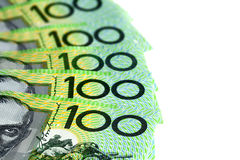 Banconote in dollari dell'australiano cento sopra bianco Immagine Stock