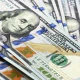 Banconote in dollari di nuovo cento Fotografia Stock