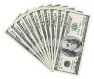 100 banconote in dollari di smazzamento Fotografie Stock Libere da Diritti