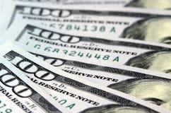 Banconote in dollari di valuta cento degli Stati Uniti Fotografie Stock Libere da Diritti