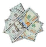 Banconote in dollari di valuta cento degli Stati Uniti isolate su bianco Fotografie Stock