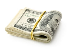 Banconote in dollari legate con un elastico Fotografia Stock Libera da Diritti