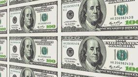 100 banconote in dollari nella prospettiva di distanza 3d Fotografie Stock