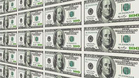 100 banconote in dollari nella prospettiva di distanza 3d Fotografia Stock