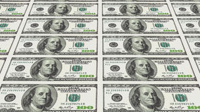 100 banconote in dollari nella prospettiva di distanza 3d Fotografie Stock Libere da Diritti