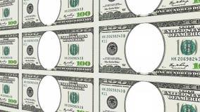 100 banconote in dollari senza il fronte nella prospettiva 3d Immagine Stock Libera da Diritti