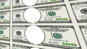 100 banconote in dollari senza il fronte nella prospettiva 3d Immagine Stock