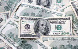 Banconote in dollari soldi di valuta cento degli Stati Uniti Immagini Stock Libere da Diritti