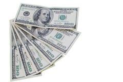 Banconote in dollari soldi di valuta cento degli Stati Uniti Fotografie Stock
