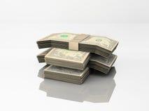 Banconote in dollari su bianco Fotografia Stock Libera da Diritti