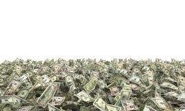 Banconote in dollari sulla terra Fotografie Stock