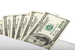 100 banconote in dollari in una busta Fotografie Stock