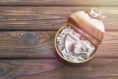 Banconote in dollari in una latta del ferro Immagini Stock
