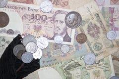Banconote e monete Fotografia Stock Libera da Diritti