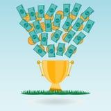 Banconote e monete del dollaro che volano in una tazza dorata del trofeo Fotografie Stock