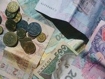 banconote e monete dell'Ucraina Fotografia Stock