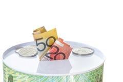Banconote e monete di Austalian su una latta dei soldi Immagine Stock