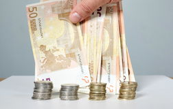 Banconote e monete Soldi Fotografia Stock Libera da Diritti