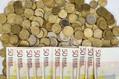 Banconote e monete Soldi Fotografie Stock Libere da Diritti