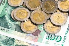 Banconote e monete soldi bulgare Immagine Stock