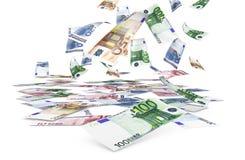 Banconote euro di caduta Immagini Stock