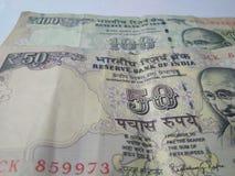 Banconote indiane di valuta Fotografia Stock