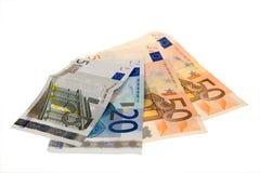 Banconote isolate su bianco Fotografie Stock
