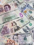 banconote messicane, banconote in dollari americane ed euro nota unorganized Immagini Stock