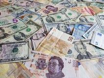 banconote messicane, banconote in dollari americane ed euro note unorganized Fotografie Stock Libere da Diritti