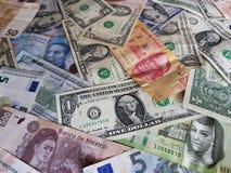 banconote messicane, banconote in dollari americane ed euro note unorganized Fotografia Stock