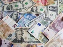banconote messicane, banconote in dollari americane ed euro note unorganized Fotografia Stock Libera da Diritti
