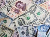 banconote messicane e banconote in dollari unorganized Fotografia Stock