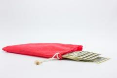 Banconote nella borsa rossa del panno Fotografia Stock Libera da Diritti