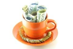 Banconote polacche in tazza Fotografie Stock Libere da Diritti