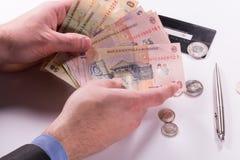 Banconote rumene dei leu, primo piano su fondo bianco Immagini Stock Libere da Diritti