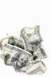 Banconote Rumpled del dollaro Fotografia Stock