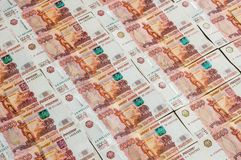 Banconote russe di valuta, cinque mila rubli Immagine Stock