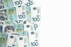 Banconote su fondo bianco Fotografia Stock