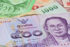 Banconote tailandesi (baht) per soldi ed i concetti di affari Immagini Stock Libere da Diritti